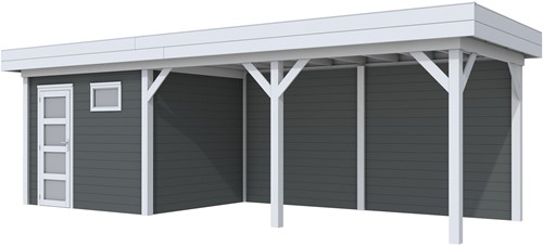 Blokhut Bonte Kraai met luifel 500, afm. 800 x 250 cm, plat dak, houtdikte 28 mm. - basis en deur grijs, wand antraciet gespoten