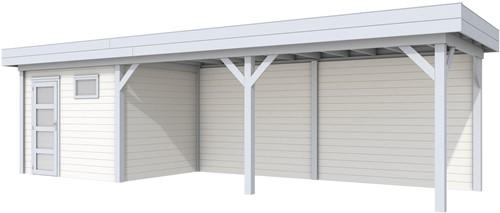 Blokhut Bonte Kraai met luifel 600, afm. 900 x 250 cm, plat dak, houtdikte 28 mm. - basis en deur grijs, wand wit gespoten