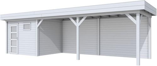 Blokhut Bonte Kraai met luifel 600, afm. 887 x 253 cm, plat dak, houtdikte 28 mm. - volledig grijs gespoten