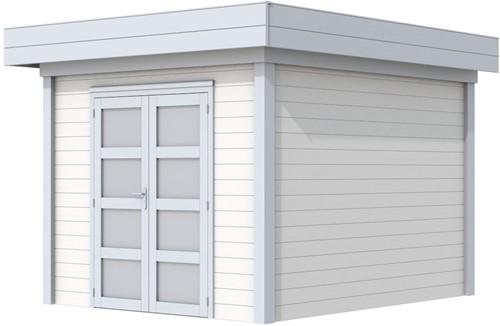 Blokhut Bosuil, afm. 300 x 300 cm, plat dak, houtdikte 28 mm. - basis en deur grijs, wand wit gespoten
