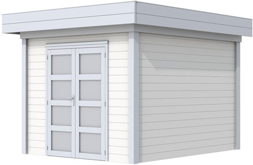 Blokhut Bosuil, afm. 303 x 303 cm, plat dak, houtdikte 28 mm. - basis en deur grijs, wand wit gespoten