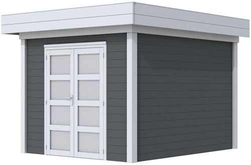 Blokhut Bosuil, afm. 303 x 303 cm, plat dak, houtdikte 28 mm. - basis en deur grijs, wand antraciet gespoten