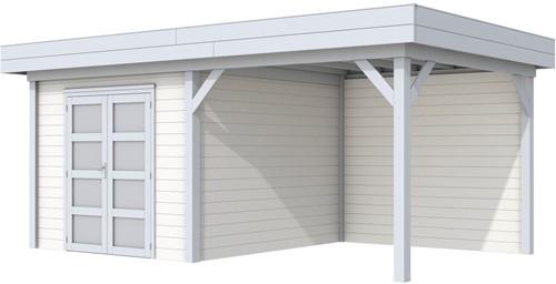 Blokhut Bosuil met luifel 300, afm. 596 x 303 cm, plat dak, houtdikte 28 mm. - basis en deur grijs, wand wit gespoten