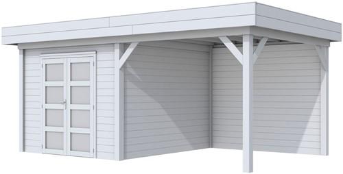 Blokhut Bosuil met luifel 300, afm. 596 x 303 cm, plat dak, houtdikte 28 mm. - volledig grijs gespoten