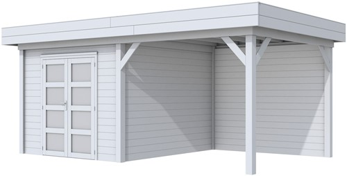 Blokhut Bosuil met luifel 400, afm. 700 x 300 cm, plat dak, houtdikte 28 mm. - volledig grijs gespoten