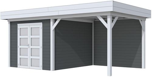 Blokhut Bosuil met luifel 300, afm. 596 x 303 cm, plat dak, houtdikte 28 mm. - basis en deur grijs, wand antraciet gespoten