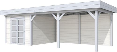 Blokhut Bosuil met luifel 500, afm. 787 x 303 cm, plat dak, houtdikte 28 mm. - basis en deur grijs, wand wit gespoten