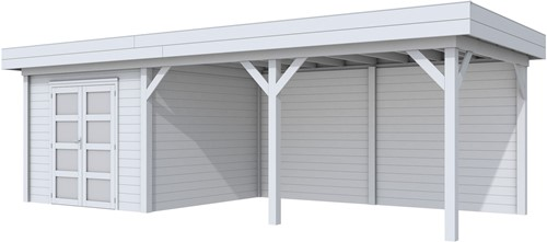Blokhut Bosuil met luifel 500, afm. 787 x 303 cm, plat dak, houtdikte 28 mm. - volledig grijs gespoten