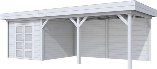 Blokhut Bosuil met luifel 500, afm. 800 x 300 cm, plat dak, houtdikte 28 mm. - volledig grijs gespoten