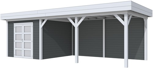 Blokhut Bosuil met luifel 500, afm. 800 x 300 cm, plat dak, houtdikte 28 mm. - basis en deur grijs, wand antraciet gespoten