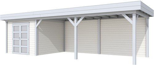 blokhut Bosuil met luifel 600, afm. 887 x 303 cm, plat dak, houtdikte 28 mm. - basis en deur grijs, wand wit gespoten