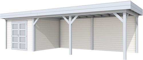 blokhut Bosuil met luifel 600, afm. 900 x 250 cm, plat dak, houtdikte 28 mm. - basis en deur grijs, wand wit gespoten