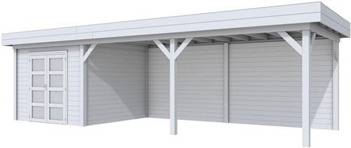 blokhut Bosuil met luifel 600, afm. 900 x 250 cm, plat dak, houtdikte 28 mm. - volledig grijs gespoten