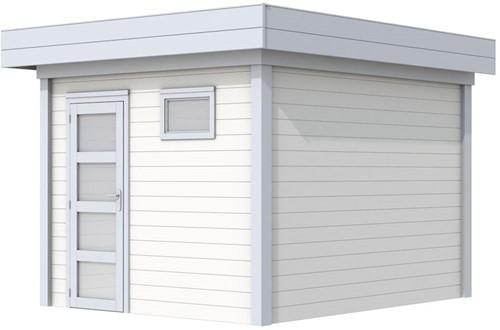 Blokhut Tapuit, afm. 303 x 303 cm, plat dak, houtdikte 28 mm. - basis en deur grijs, wand wit gespoten