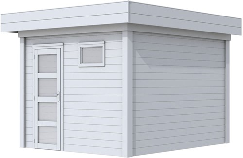 Blokhut Tapuit, afm. 300 x 300 cm, plat dak, houtdikte 28 mm. - volledig grijs gespoten