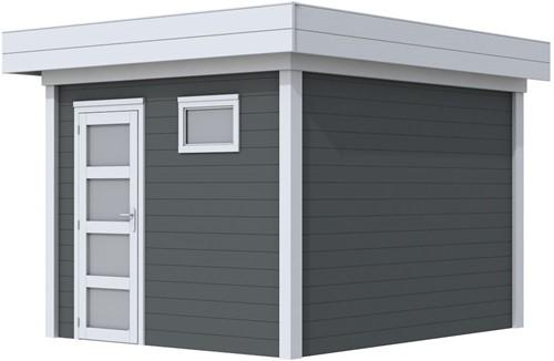 Blokhut Tapuit, afm. 303 x 303 cm, plat dak, houtdikte 28 mm. - basis en deur grijs, wand antraciet gespoten