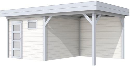 Blokhut Tapuit met luifel 300, afm. 596 x 303 cm, plat dak, houtdikte 28 mm. - basis en deur grijs, wand wit gespoten