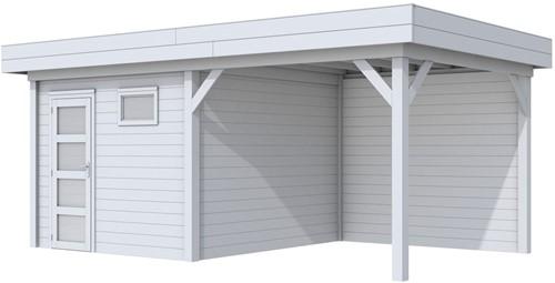 Blokhut Tapuit met luifel 400, afm. 700 x 300 cm, plat dak, houtdikte 28 mm. - volledig grijs gespoten
