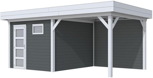 Blokhut Tapuit met luifel 300, afm. 596 x 303 cm, plat dak, houtdikte 28 mm. - basis en deur grijs, wand antraciet gespoten
