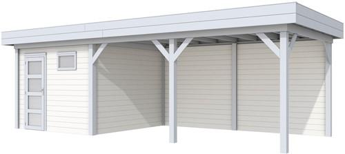 blokhut Tapuit met luifel 500, afm. 787 x 303 cm, plat dak, houtdikte 28 mm. - basis en deur grijs, wand wit gespoten