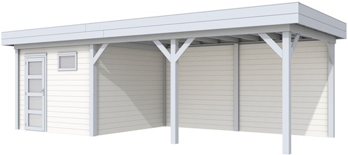 blokhut Tapuit met luifel 500, afm. 800 x 300 cm, plat dak, houtdikte 28 mm. - basis en deur grijs, wand wit gespoten
