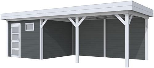 blokhut Tapuit met luifel 500, afm. 800 x 300 cm, plat dak, houtdikte 28 mm. - basis en deur grijs, wand antraciet gespoten