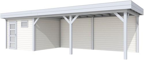Blokhut Tapuit met luifel 600, afm. 900 x 300 cm, plat dak, houtdikte 28 mm. - basis en deur grijs, wand wit gespoten