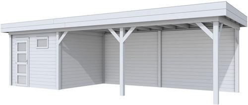 Blokhut Tapuit met luifel 600, afm. 887 x 303 cm, plat dak, houtdikte 28 mm. - volledig grijs gespoten