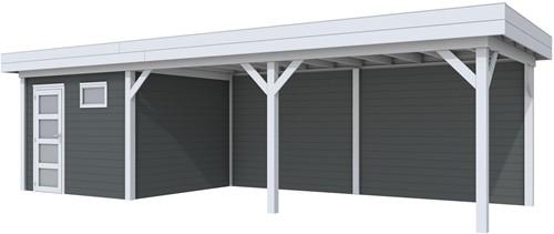 Blokhut Tapuit met luifel 600, afm. 887 x 303 cm, plat dak, houtdikte 28 mm. - basis en deur grijs, wand antraciet gespoten