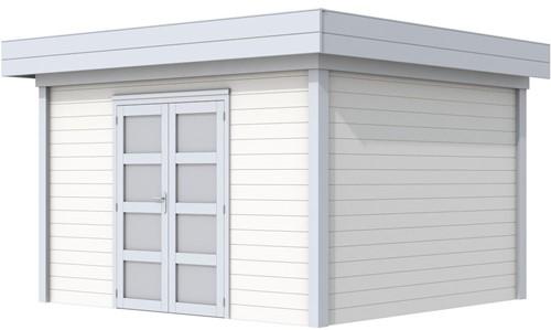 Blokhut Parelhoen, afm. 395 x 303 cm, plat dak, houtdikte 28 mm. - basis en deur grijs, wand wit gespoten