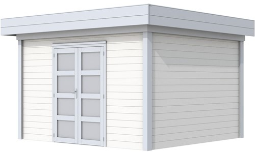 Blokhut Parelhoen, afm. 400 x 300 cm, plat dak, houtdikte 28 mm. - basis en deur grijs, wand wit gespoten