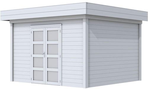 Blokhut Parelhoen, afm. 395 x 303 cm, plat dak, houtdikte 28 mm. - volledig grijs gespoten