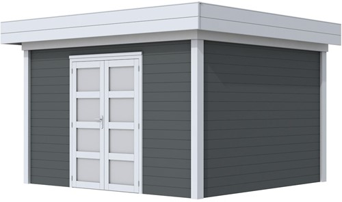 Blokhut Parelhoen, afm. 395 x 303 cm, plat dak, houtdikte 28 mm. - basis en deur grijs, wand antraciet gespoten