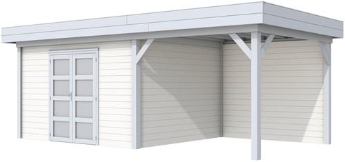 Blokhut Parelhoen met luifel 400, afm. 800 x 300 cm, plat dak, houtdikte 28 mm. - basis en deur grijs, wand wit gespoten