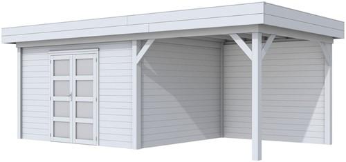 blokhut Parelhoen met luifel 300, afm. 686 x 303 cm, plat dak, houtdikte 28 mm. - volledig grijs gespoten
