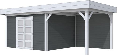 Blokhut Parelhoen met luifel 400, afm. 778 x 303 cm, plat dak, houtdikte 28 mm. - basis en deur grijs, wand antraciet gespoten