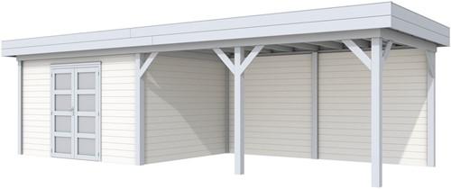 Blokhut Parelhoen met luifel 500, afm.900 x 300 cm, plat dak, houtdikte 28 mm. - basis en deur grijs, wand wit gespoten