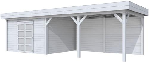 Blokhut Parelhoen met luifel 500, afm. 876 x 303 cm, plat dak, houtdikte 28 mm. - volledig grijs gespoten