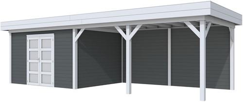 Blokhut Parelhoen met luifel 500, afm. 876 x 303 cm, plat dak, houtdikte 28 mm. - basis en deur grijs, wand antraciet gespoten
