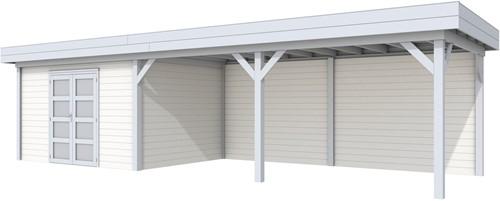 Blokhut Parelhoen met luifel 600, afm. 976 x 303 cm, plat dak, houtdikte 28 mm. - basis en deur grijs, wand wit gespoten