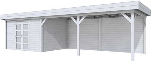 Blokhut Parelhoen met luifel 600, afm. 976 x 303 cm, plat dak, houtdikte 28 mm. - volledig grijs gespoten