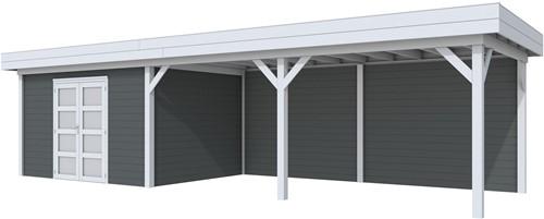 Blokhut Parelhoen met luifel 600, afm. 976 x 303 cm, plat dak, houtdikte 28 mm. - basis en deur grijs, wand antraciet gespoten