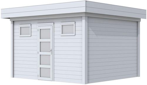 Blokhut Kievit, afm. 395 x 303 cm, plat dak, houtdikte 28 mm.. - volledig grijs gespoten