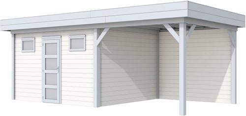 Blokhut Kievit met luifel 300, afm. 686 x 303 cm, plat dak, houtdikte 28 mm. - basis en deur grijs, wand wit gespoten