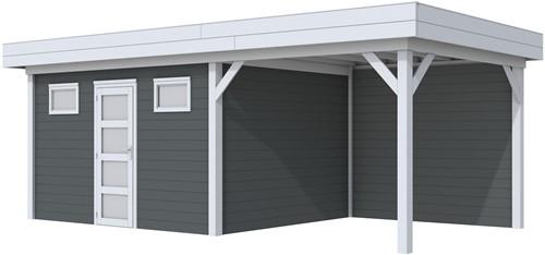 Blokhut Kievit met luifel 400, afm. 778 x 303 cm, plat dak, houtdikte 28 mm. - basis en deur grijs, wand antraciet gespoten