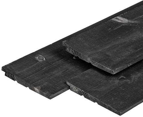 Zweeds rabat, afm. 1,1/2,2 x 19,5 cm, lengte 420 cm, 18 cm werkend, vuren, zwart gespoten