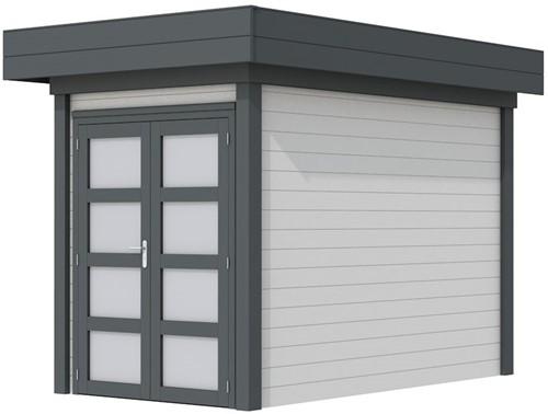 Blokhut Zwaluw, afm. 203 x 303 cm, houtdikte 28 mm, plat dak - basis en deur antraciet, wand wit gespoten