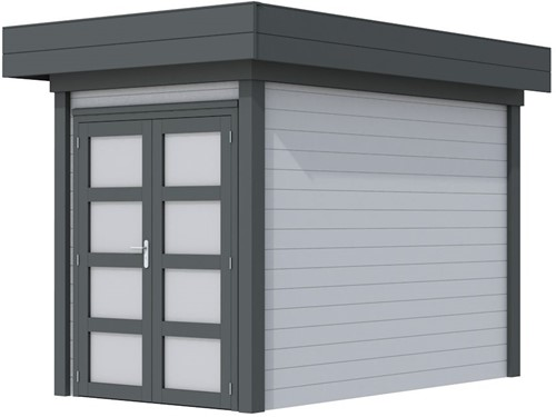 Blokhut Zwaluw, afm. 203 x 303 cm, houtdikte 28 mm, plat dak - basis en deur antraciet, wand grijs gespoten