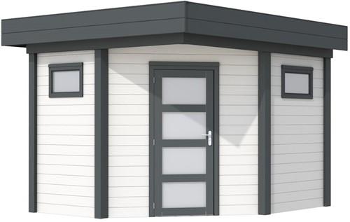 Hoekblokhut Houtduif 291 x 291 cm - basis en deur antraciet, wand wit gespoten