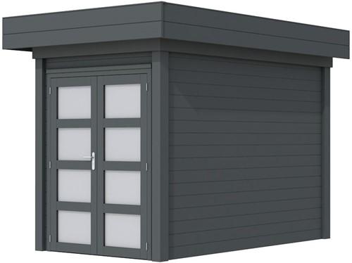 Blokhut Zwaluw, afm. 203 x 303 cm, houtdikte 28 mm, plat dak - volledig antraciet gespoten